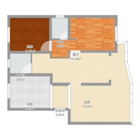 馨泓花园2室1厅2卫1厨111.00㎡户型图