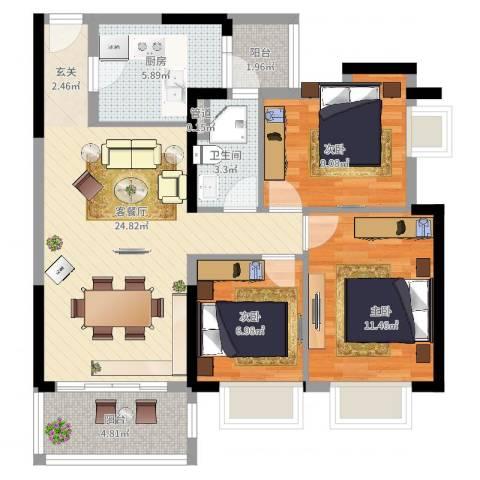金沙・山海名门3室2厅1卫1厨99.00㎡户型图