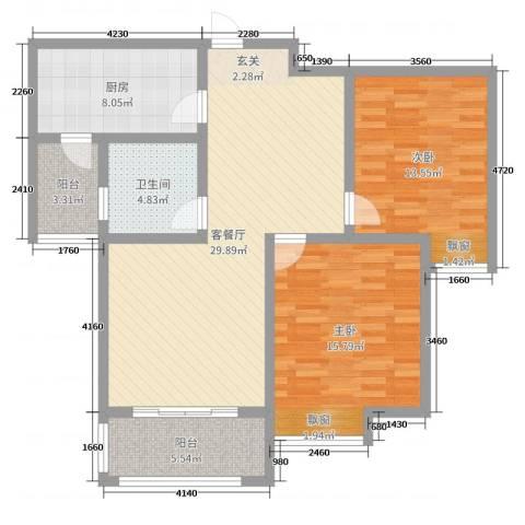 雍福上城2室2厅1卫1厨80.97㎡户型图