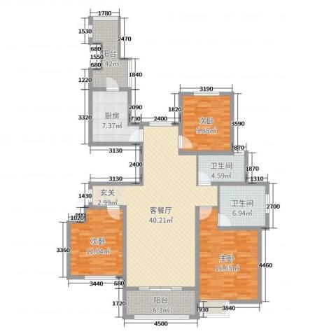 雍福上城3室2厅2卫1厨110.40㎡户型图