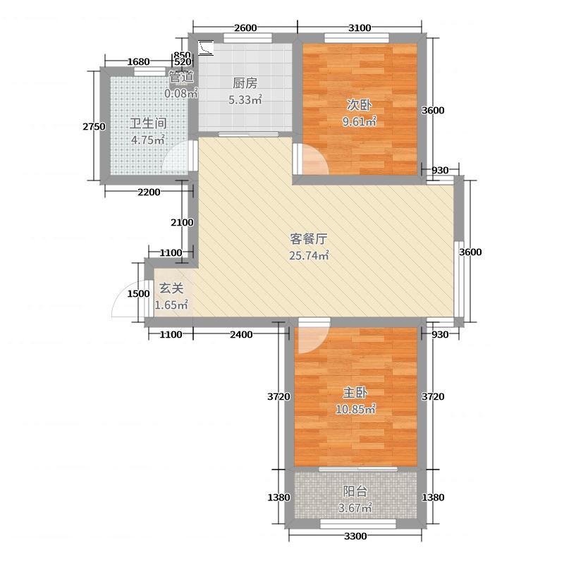 想象国际91.19㎡南10#标准层C4户型2室2厅1卫1厨