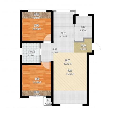 康馨壹品2室1厅1卫1厨85.00㎡户型图