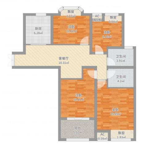 京城国际4室2厅2卫1厨107.00㎡户型图