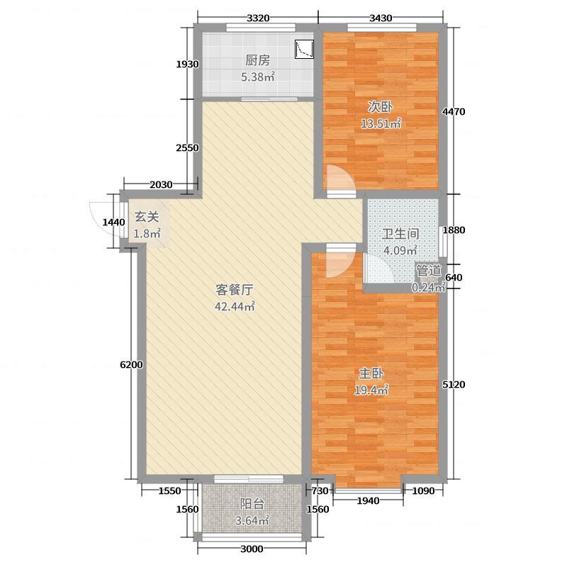 启点小区110.60㎡5#6#标准层G户型2室2厅1卫1厨