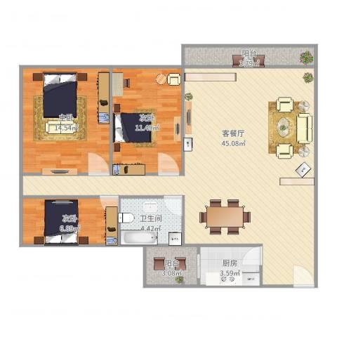 碧琴湾3室2厅1卫1厨116.00㎡户型图