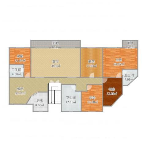 竹苑新村4室2厅3卫1厨241.00㎡户型图