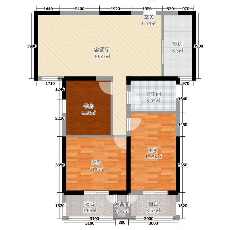 上林轩117.95㎡4B户型3室3厅1卫1厨