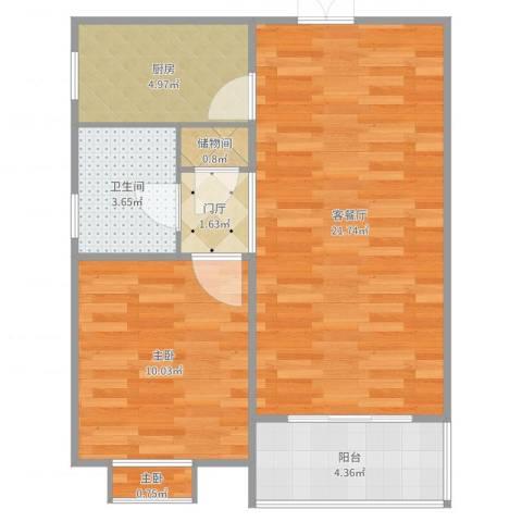 新虹桥首府2室2厅1卫1厨60.00㎡户型图