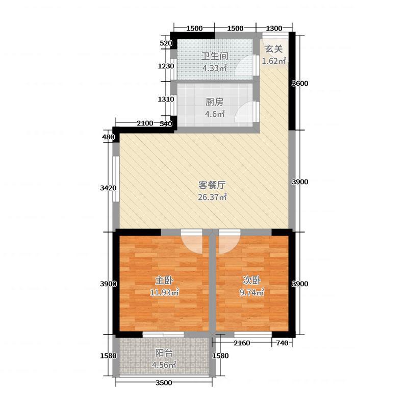 葛洲坝城市花园86.46㎡9号楼F6户型2室2厅1卫1厨