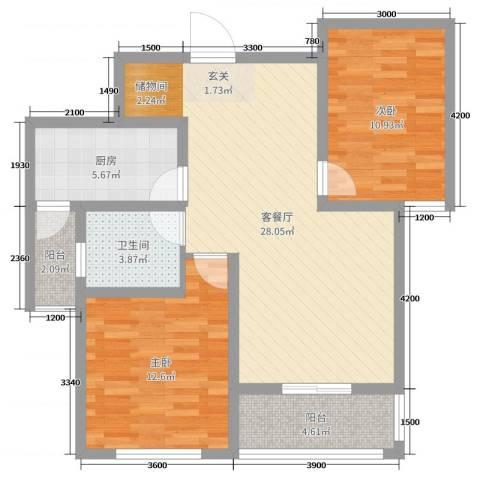 和谐家园2室2厅1卫1厨91.00㎡户型图
