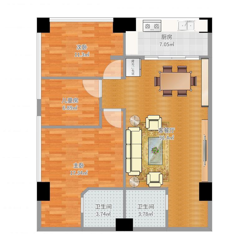 国龙公寓平面图_t3