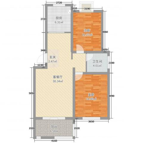 格林春天2室2厅1卫1厨91.00㎡户型图