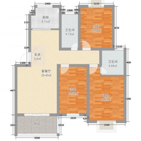 格林春天3室2厅2卫1厨106.00㎡户型图
