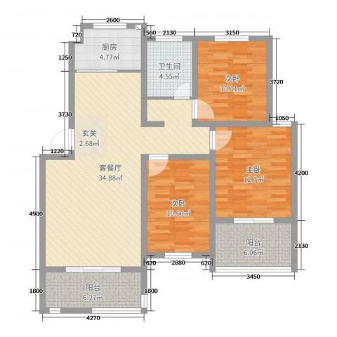 格林春天3室2厅1卫1厨112.00㎡户型图