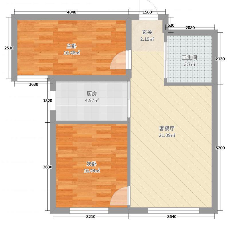 紫金城73.32㎡B3户型2室2厅1卫1厨