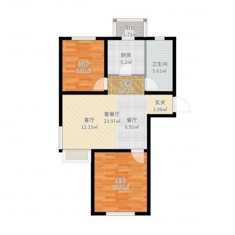 境界梅江红逸涛园2室2厅1卫1厨73.00㎡户型图