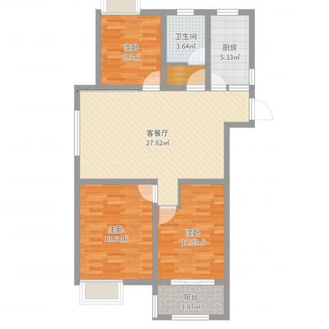 昆山湖畔林语3室2厅1卫1厨94.00㎡户型图