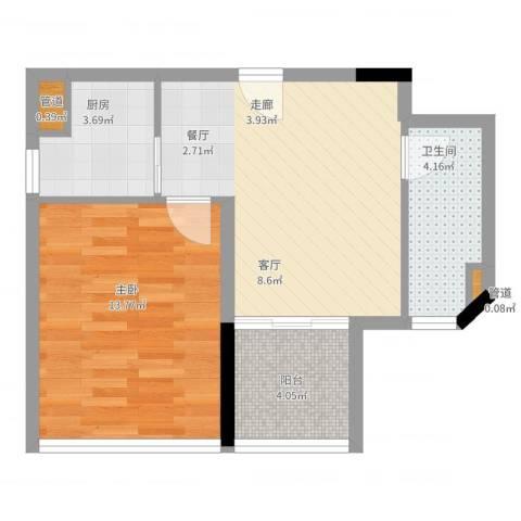 藏珑湖上国际社区1室2厅1卫1厨60.00㎡户型图