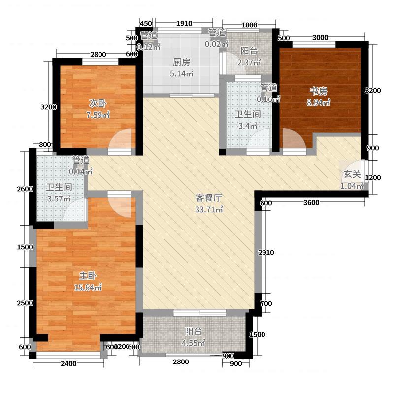 西安三迪枫丹114.90㎡一期4号楼D2户型3室3厅2卫1厨