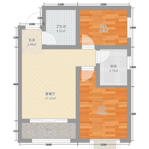 清渭公馆2室2厅1卫1厨63.00㎡户型图