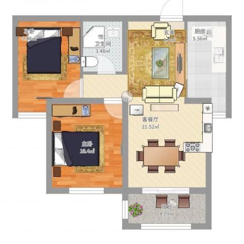 馨视界・花城2室2厅1卫1厨78.00㎡户型图