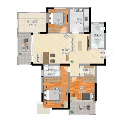 香格里拉花园3室2厅2卫1厨137.00㎡户型图