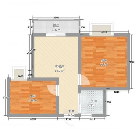海南东方锦绣蓝湾2室2厅1卫1厨61.00㎡户型图