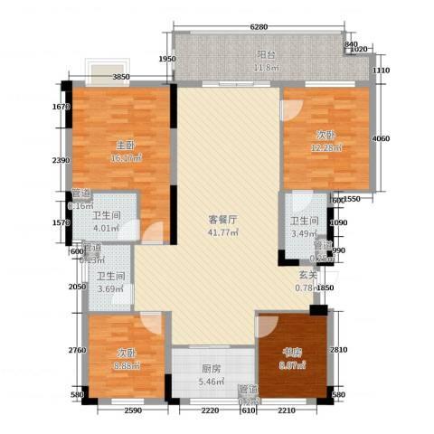 万科金域蓝湾4室2厅3卫1厨143.00㎡户型图