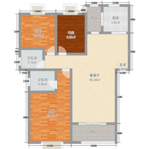 乐仙小镇3室2厅2卫1厨129.00㎡户型图