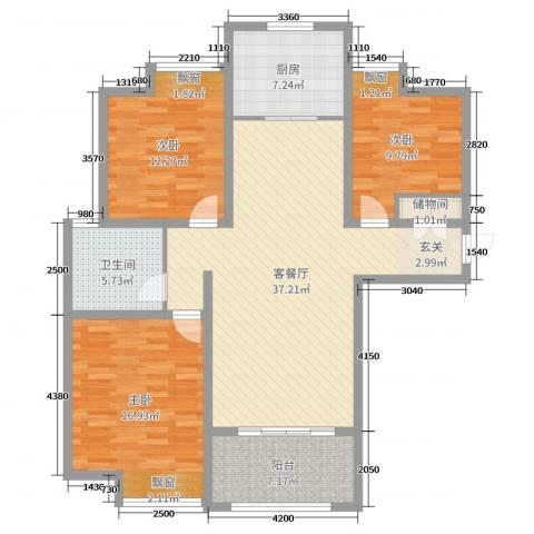 雍福上城3室2厅1卫1厨97.35㎡户型图