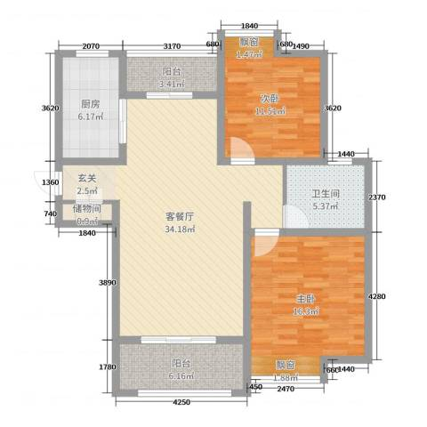 雍福上城2室2厅1卫1厨84.00㎡户型图