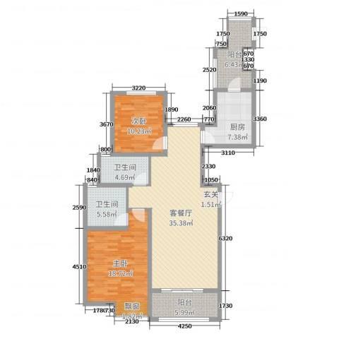 雍福上城2室2厅2卫1厨94.40㎡户型图