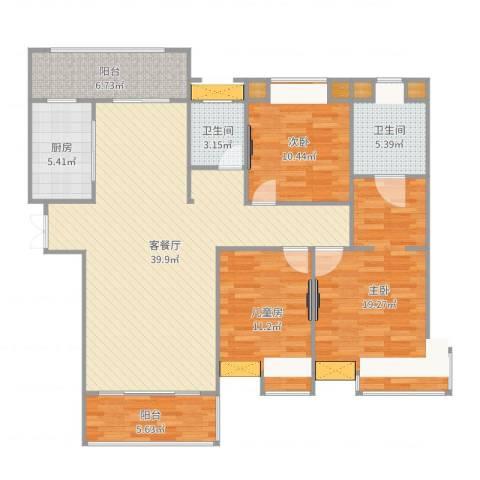 友邦皇家公馆3室2厅2卫1厨135.00㎡户型图