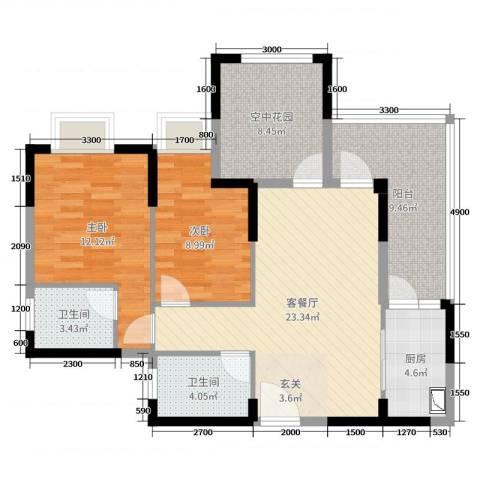 天湖御林湾2室2厅2卫1厨90.00㎡户型图