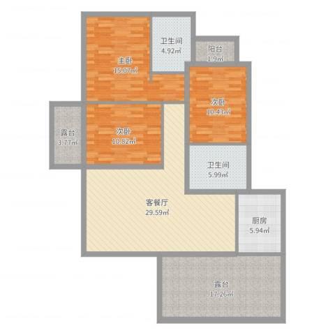 滨湖世纪城徽昌苑3室2厅2卫1厨132.00㎡户型图