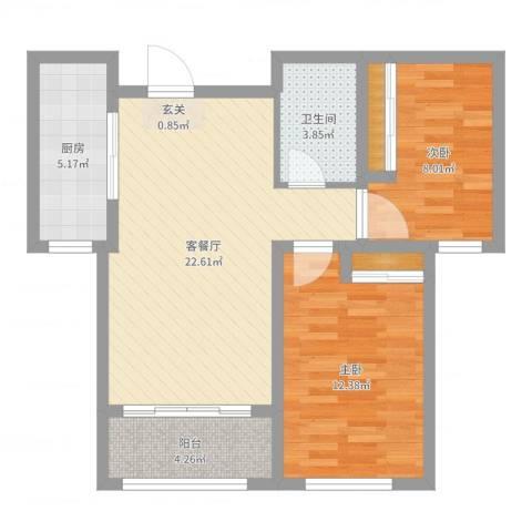 万豪华庭公馆2室2厅1卫1厨72.00㎡户型图