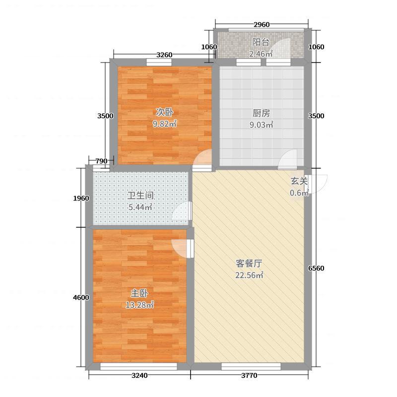 锦绣华城59.99㎡雅园2号楼A户型2室2厅1卫1厨