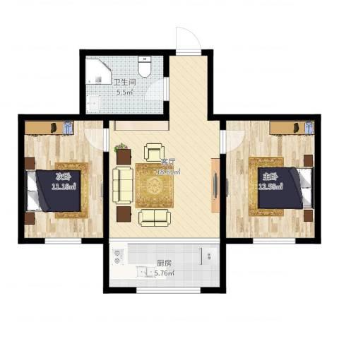 叠翠山庄182号2室1厅1卫1厨67.00㎡户型图