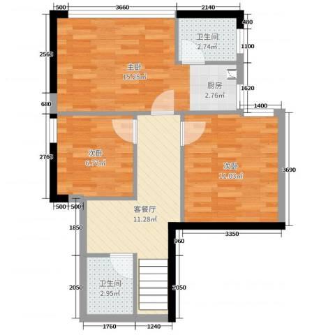 福星时代天骄3室2厅2卫0厨104.00㎡户型图