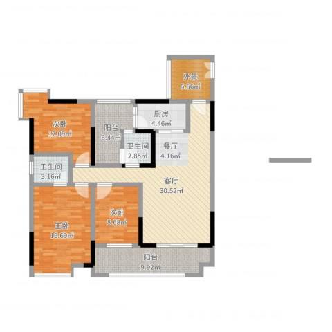 春江花月3室1厅2卫1厨125.00㎡户型图