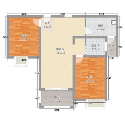 润洋壹品2室2厅1卫1厨94.00㎡户型图