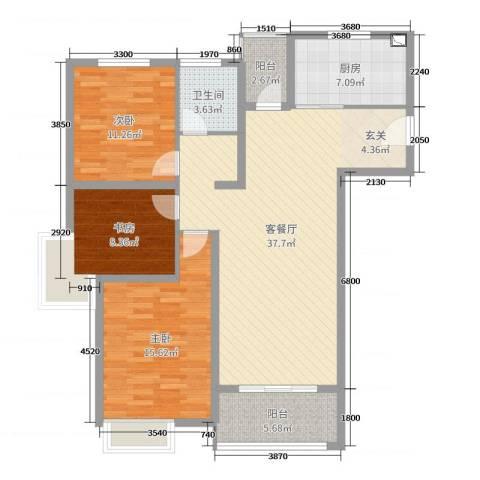润洋壹品3室2厅1卫1厨115.00㎡户型图