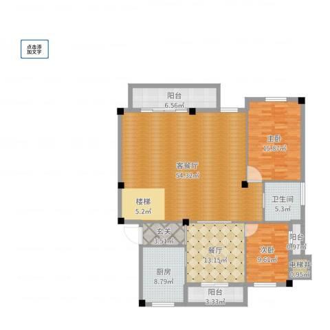 枫华富地2室3厅1卫1厨153.00㎡户型图