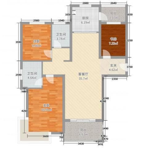 润洋壹品3室2厅2卫1厨116.00㎡户型图