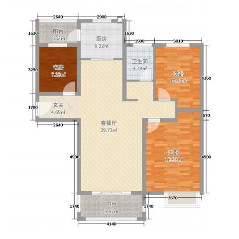 润洋壹品3室2厅1卫1厨117.00㎡户型图