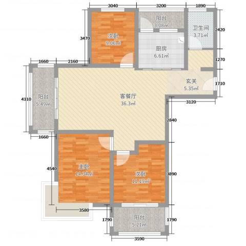 润洋壹品3室2厅1卫1厨120.00㎡户型图