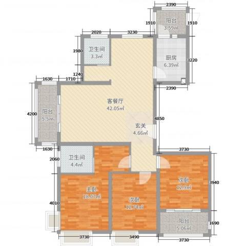 润洋壹品3室2厅2卫1厨143.00㎡户型图