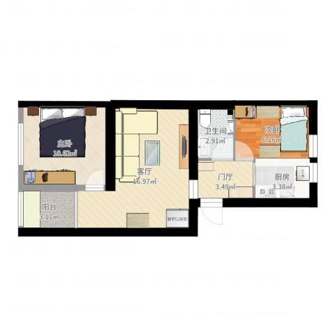 六里桥北里2室1厅1卫1厨58.00㎡户型图