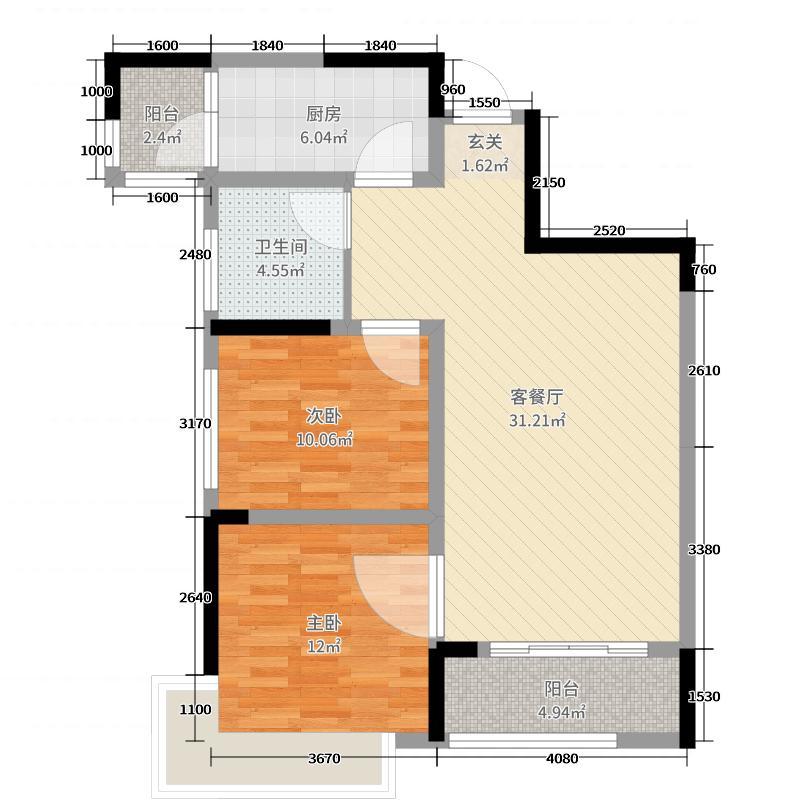 米兰印象88.98㎡二期A4户型2室2厅1卫1厨