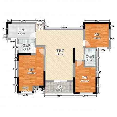 暨阳玫瑰城三期3室2厅2卫1厨116.00㎡户型图
